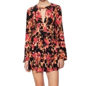 Free People Tegan Cutout Boho Mini Dress Floral